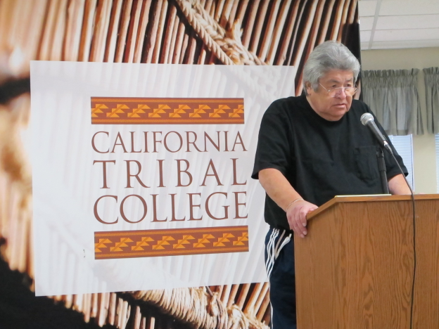 Tribal leader lecturing at the California Tribal College