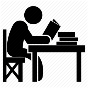 Black Icon of a student sitting and studying